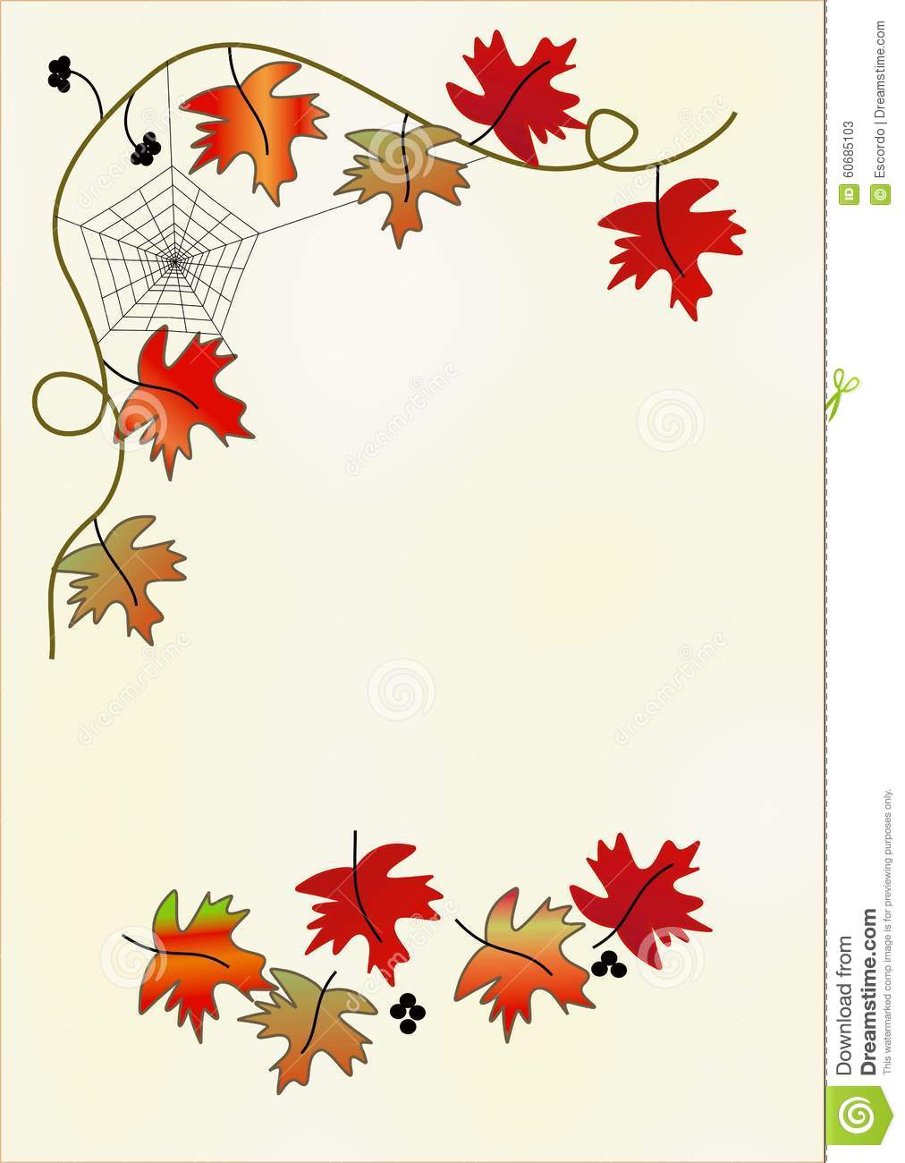 Clipart With Red Leaves And Spider Web Stock Illustration.