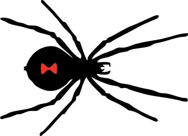 Black Widow Spider clip art Free vector in Open office drawing svg.