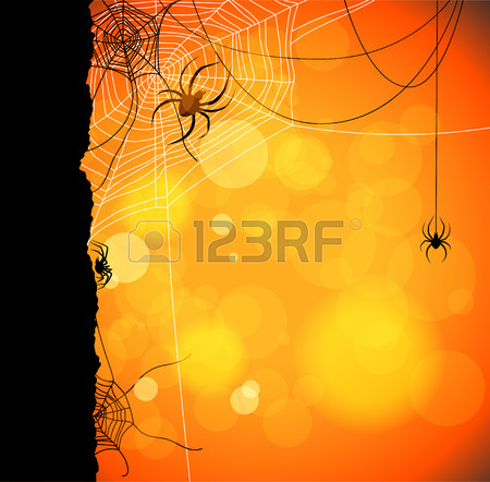 Autumn Orange Background With Spiders And Web Royalty Free.