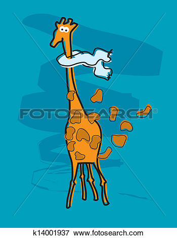 Clip Art of Giraffe with a scarf caught in an autumn storm.