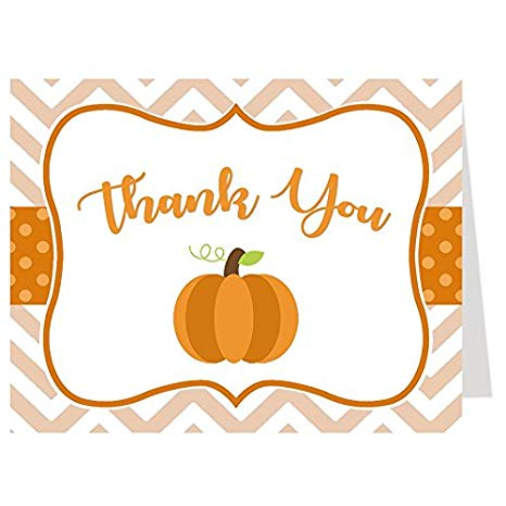 Thank You Cards, Baby Shower Thank You Cards, Chevron Little Pumpkin,  White, Orange, Brown, Green, Polka Dots, Chevron Stripes, Pumpkin, Fall  Baby,.