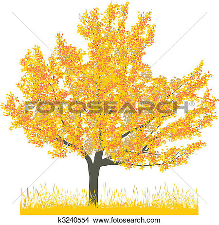 Clipart of Cherry tree in autumn k3240554.