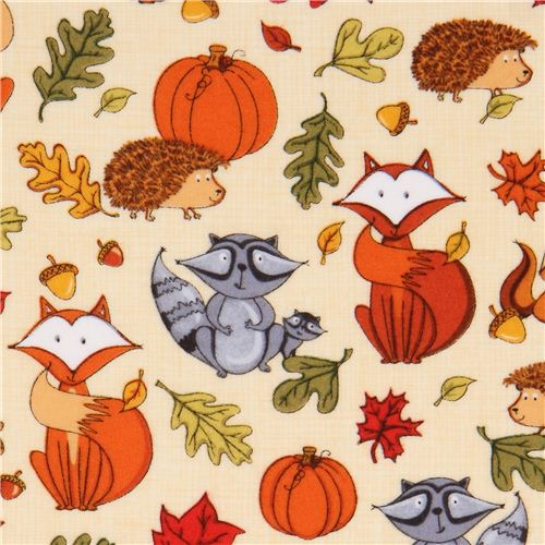 cream autumn forest animal flannel fabric by Timeless Treasures.