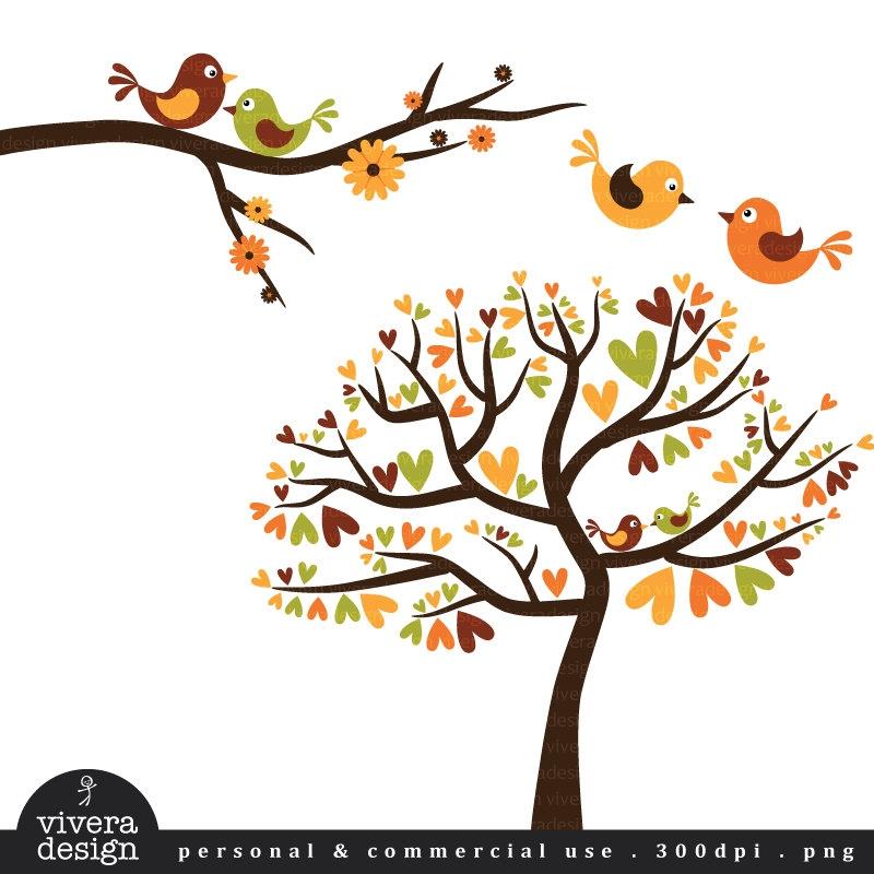 Autumn Tree With 2 Birds Clipart.