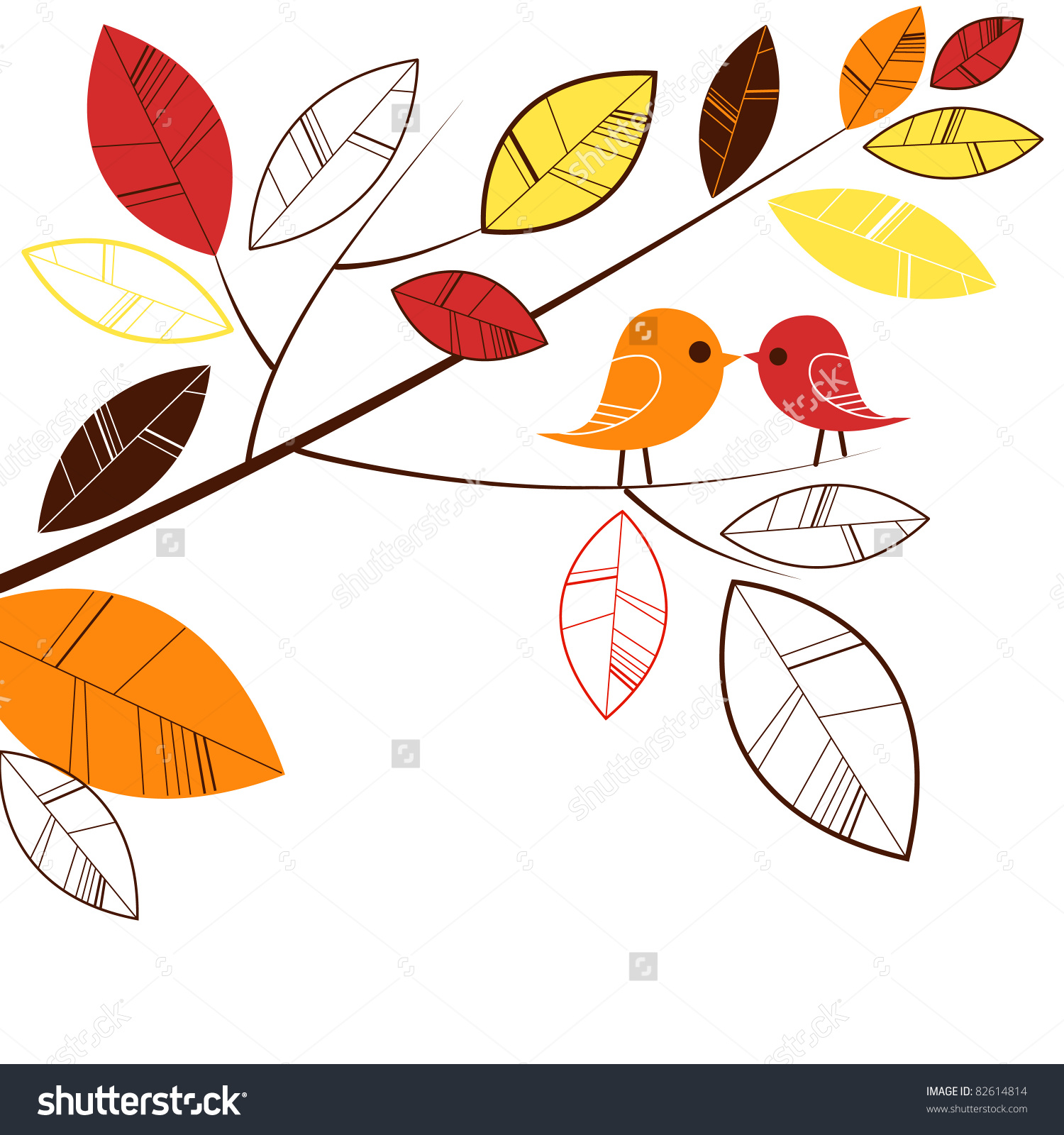 Autumn Leaves And Two Birds Kissing Stock Vector Illustration.