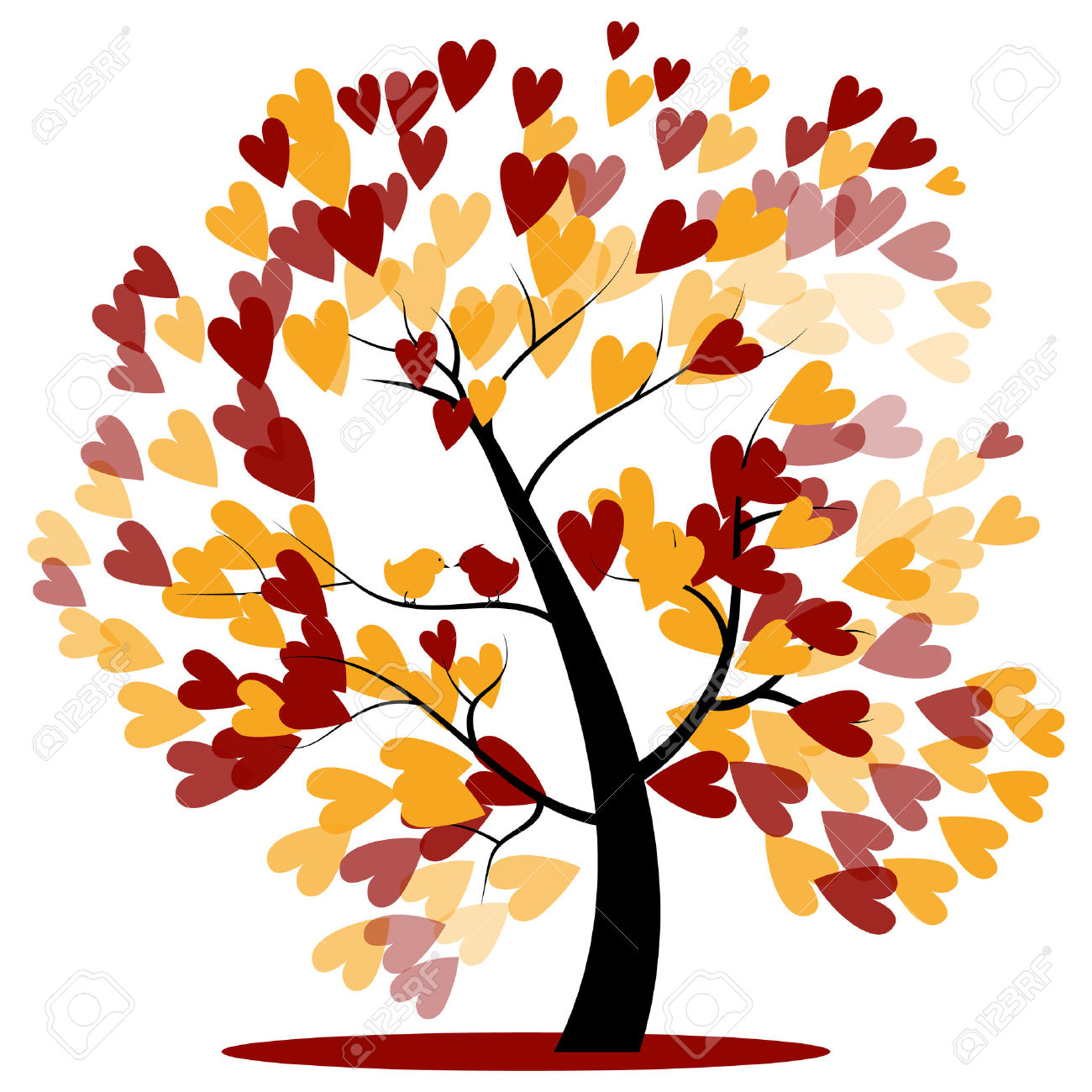 Autumn Wedding Tree Of Red And Yellow Hearts Hanging On The.