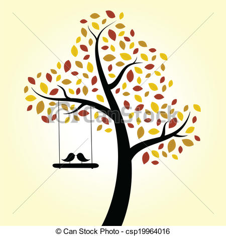 Clipart Of Love Birds On A Tree With A Swing.