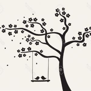 Top Couples Of Birds On Autumn Tree Vector Clipart Illustration.