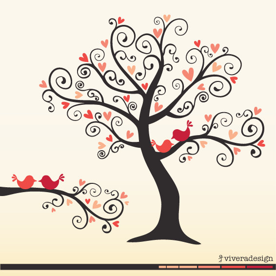 Autumn Tree With 2 Birds Clipart.