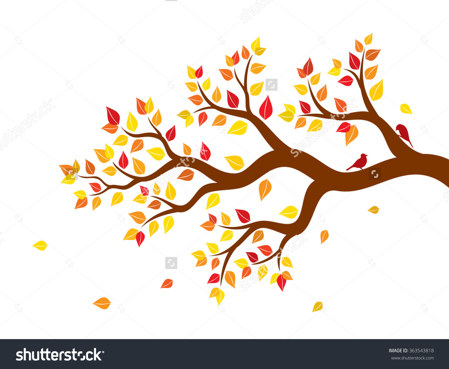 Vector Illustration Of Autumn Tree Branch With Colorful Leaves And.