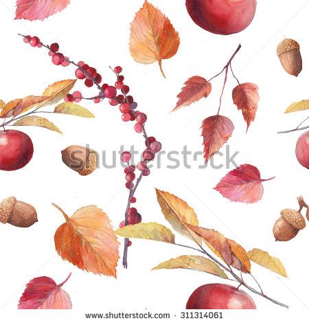 Welcome Autumn Watercolor Autumn Wreath Hand Stock Illustration.
