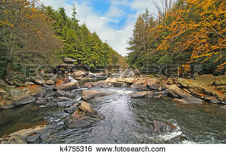 Stock Images of Wild Appalachian River in Autumn k4755316.