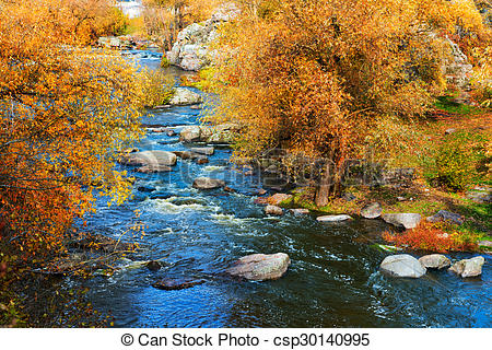 Stock Photographs of Rough river at autumn.
