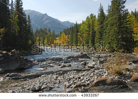 Autumn View Of Elbow River And Valley In Kananaskis Country.