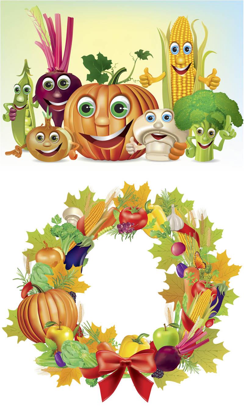 Set of 2 vector fall vegetables clip art, frames. Format: EPS or.