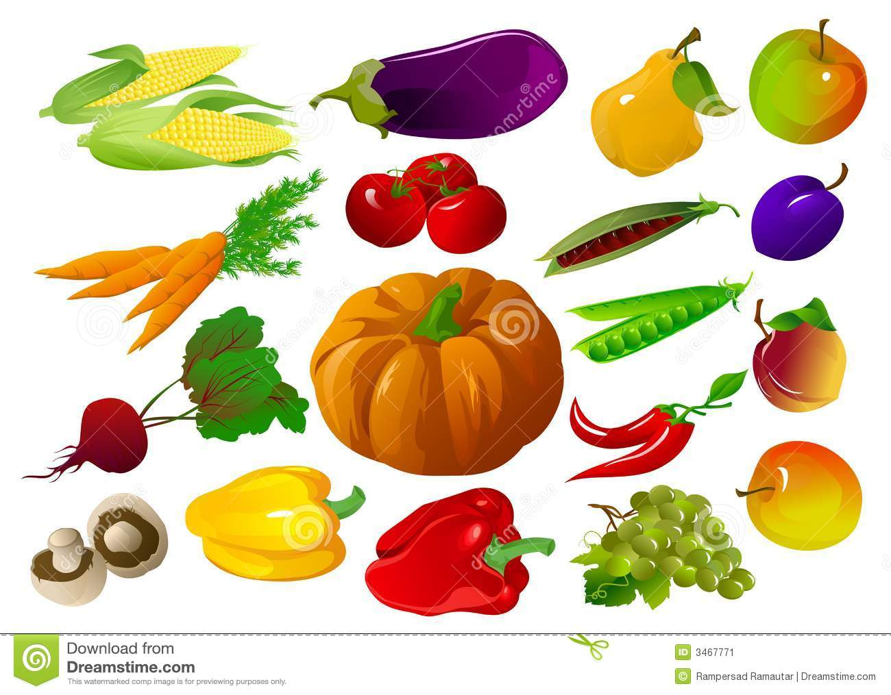 3841 Fruits free clipart.