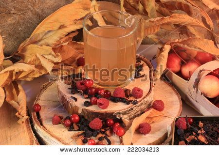 raspberry tea cranberries autumn dry leaves dried berry fruit.