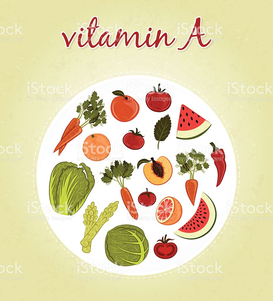 Vitamin A Fruits And Vegetables stock vector art 465417744.