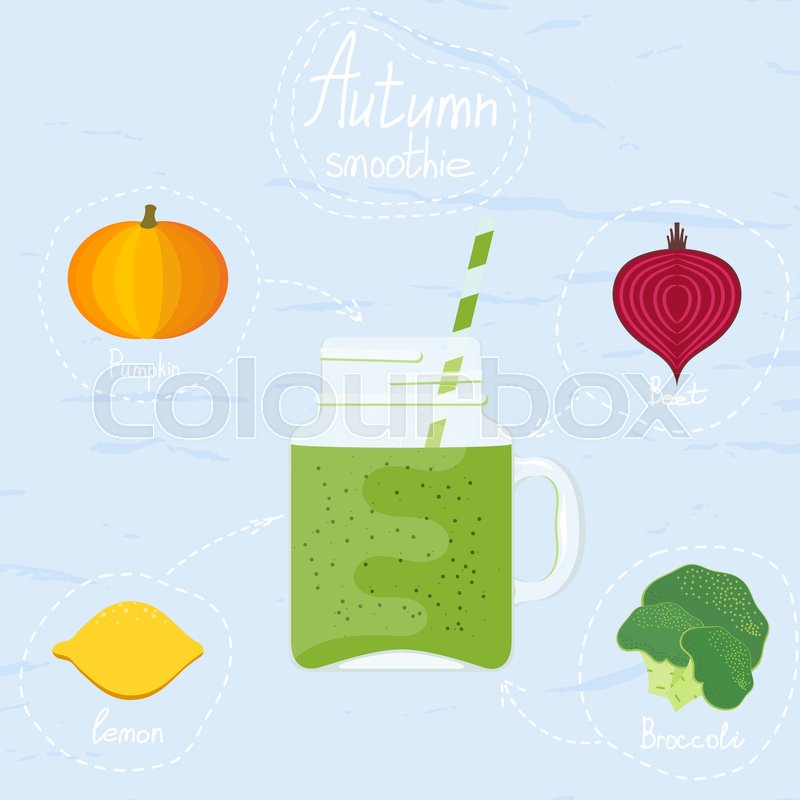 "Buy Stock Vector ""Vector illustration of autumn smoothies. Glass."
