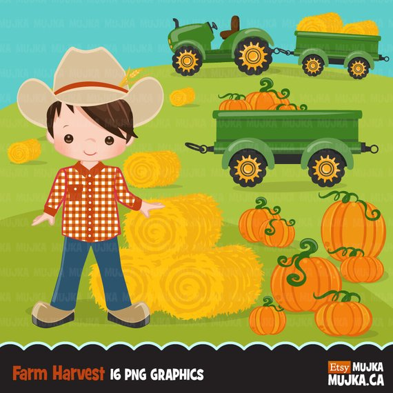 Farmer Clipart, fall farmers with tractor, cute characters.