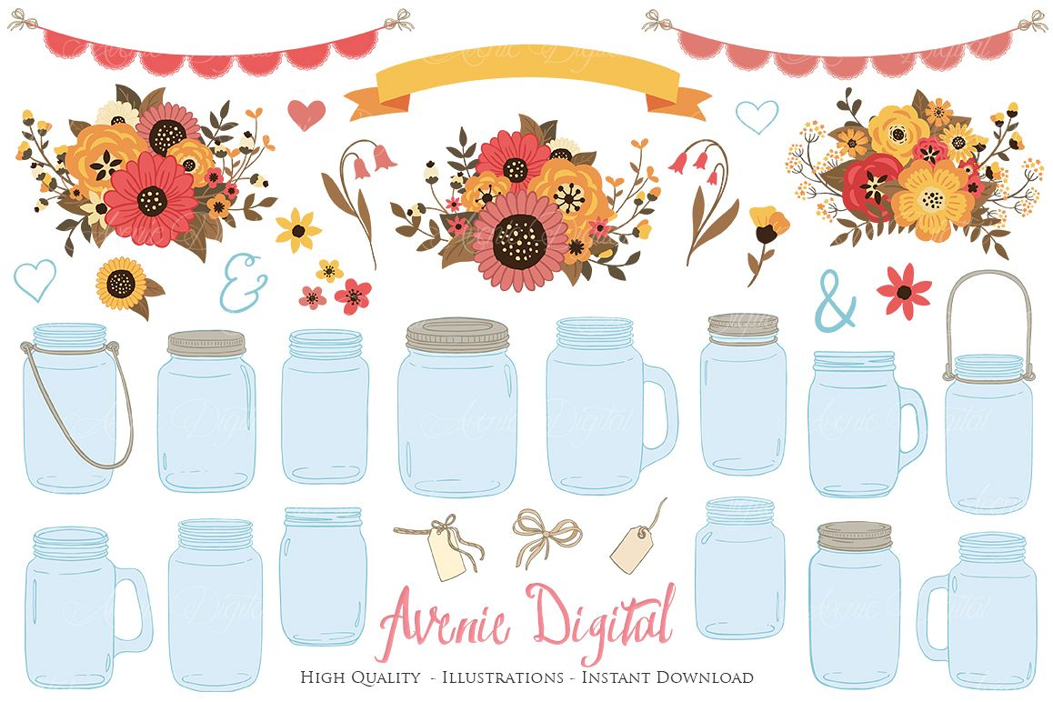 Fall Mason Jar Wedding Clipart.