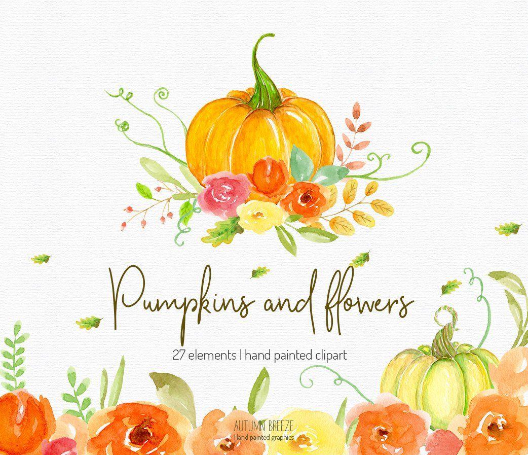 Autumn Clipart, watercolor clipart, fall clipart, pumpkin.