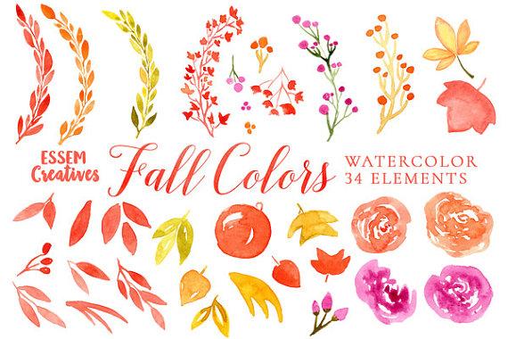 Watercolor Fall Clipart, Autumn Wedding clipart, Invitation.