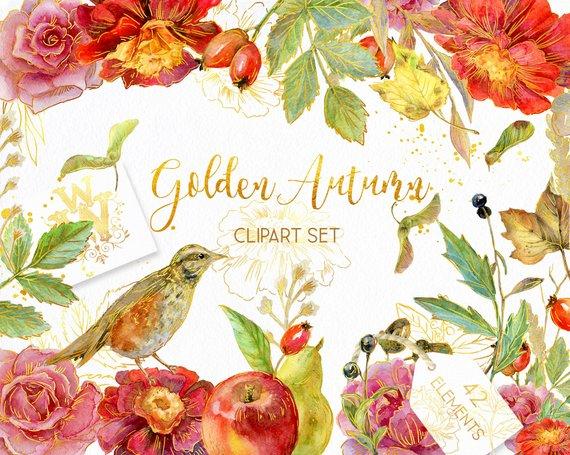 Golden Autumn Watercolor wedding clipart, Thanksgiving.