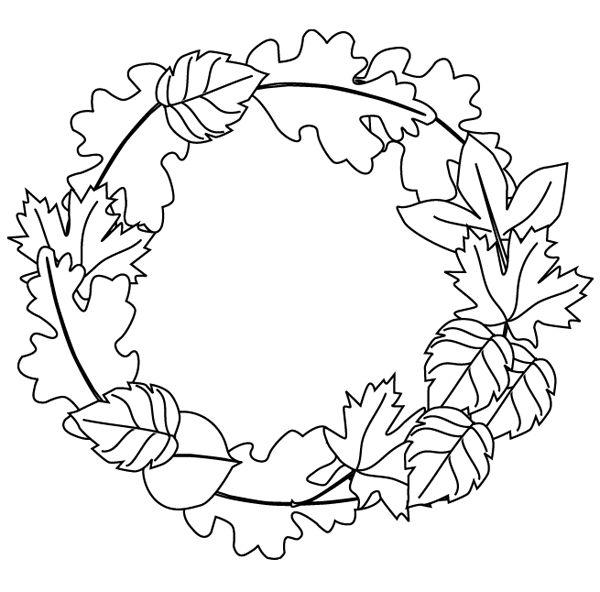 autumn wreath black and white clipart
