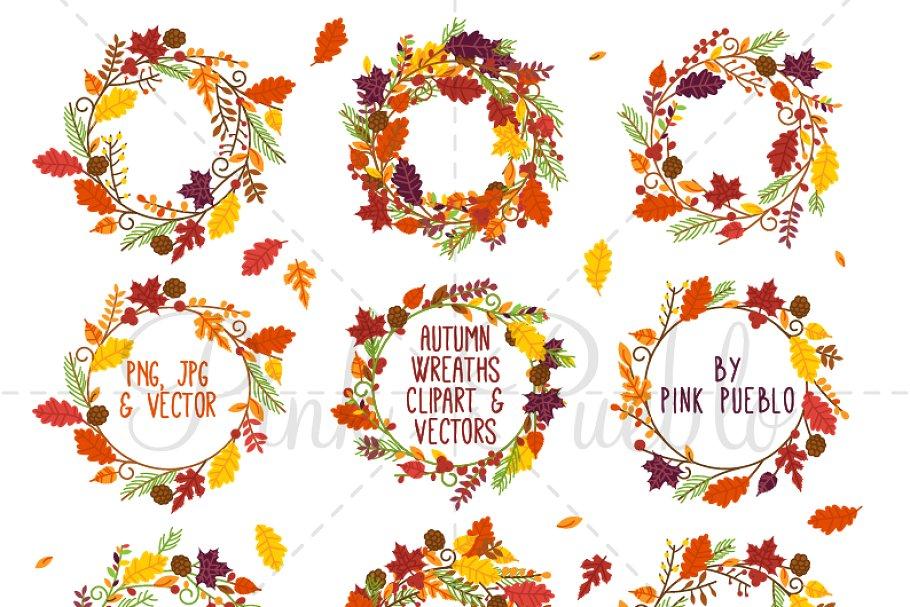 Autumn Wreath Clipart and Vectors.