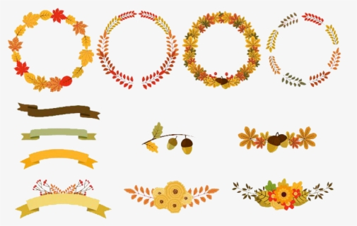 Free Fall Wreath Clip Art with No Background.