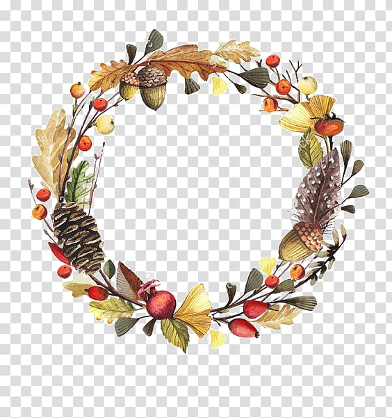 Brown and red cone wreath, Wreath, Autumn wreath transparent.