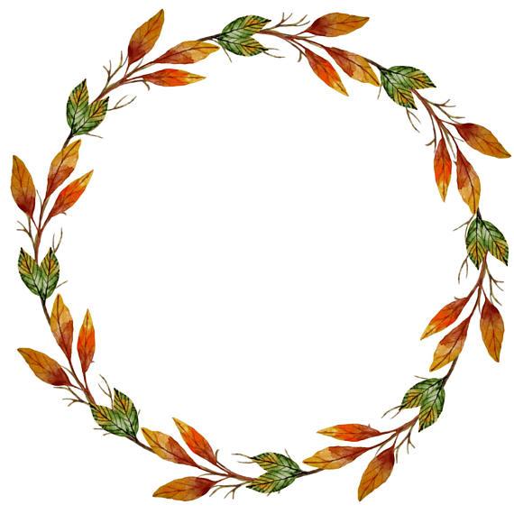 Watercolor Wreath Clipart, Autumn Clipart, Autumn Wreath.