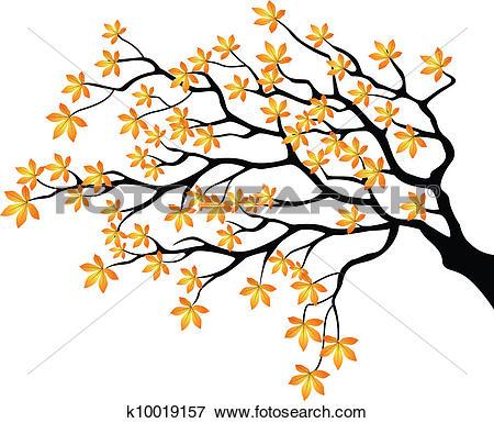 Clip Art of Autumnal branch k10019157.