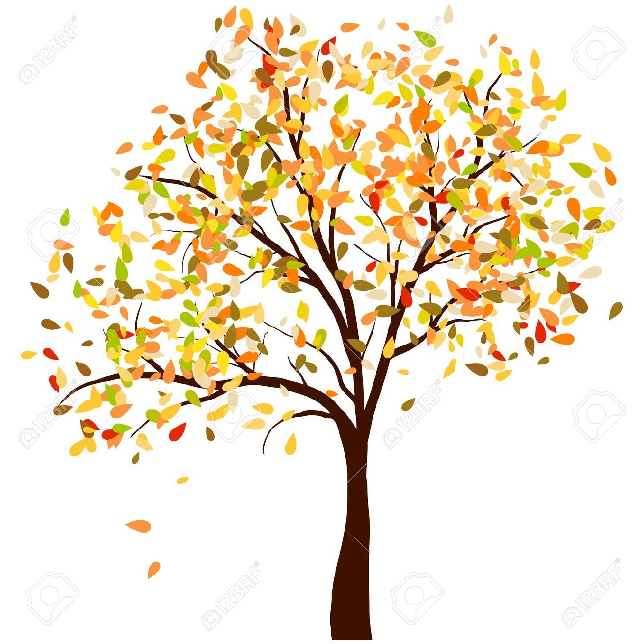 Autumn Birch Tree With Falling Leaves Background. Illustration.