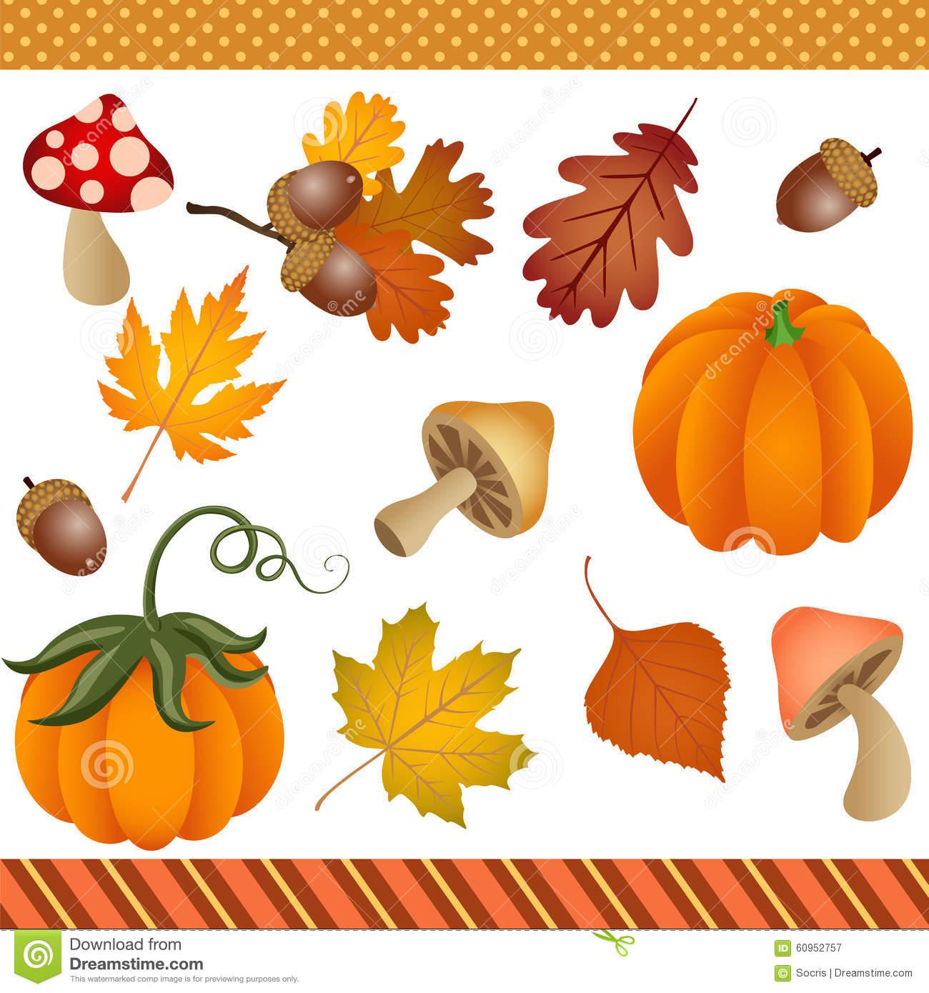 Fall Autumn Clipart Digital Stock Vector.