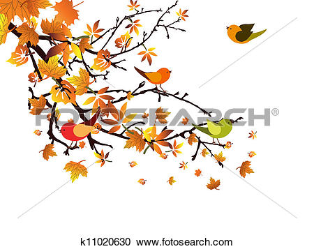 Clipart of Autumnal branch k11020630.