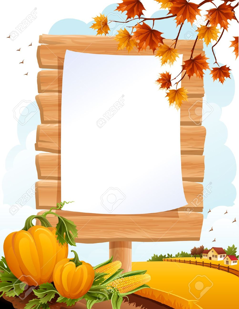 Autumn Landscape With The Wooden Sing Royalty Free Cliparts.