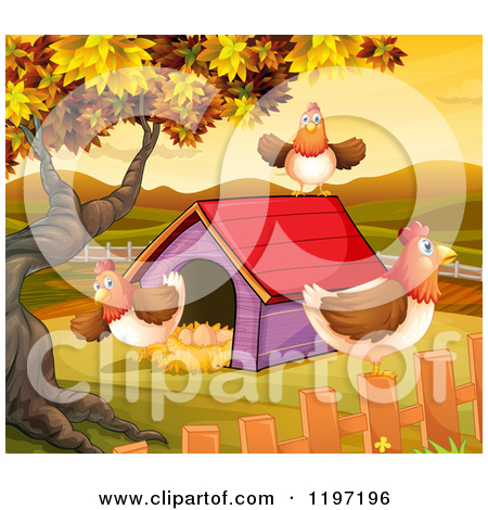 Cartoon of Hens at a Coop in an Autumn Landscape.