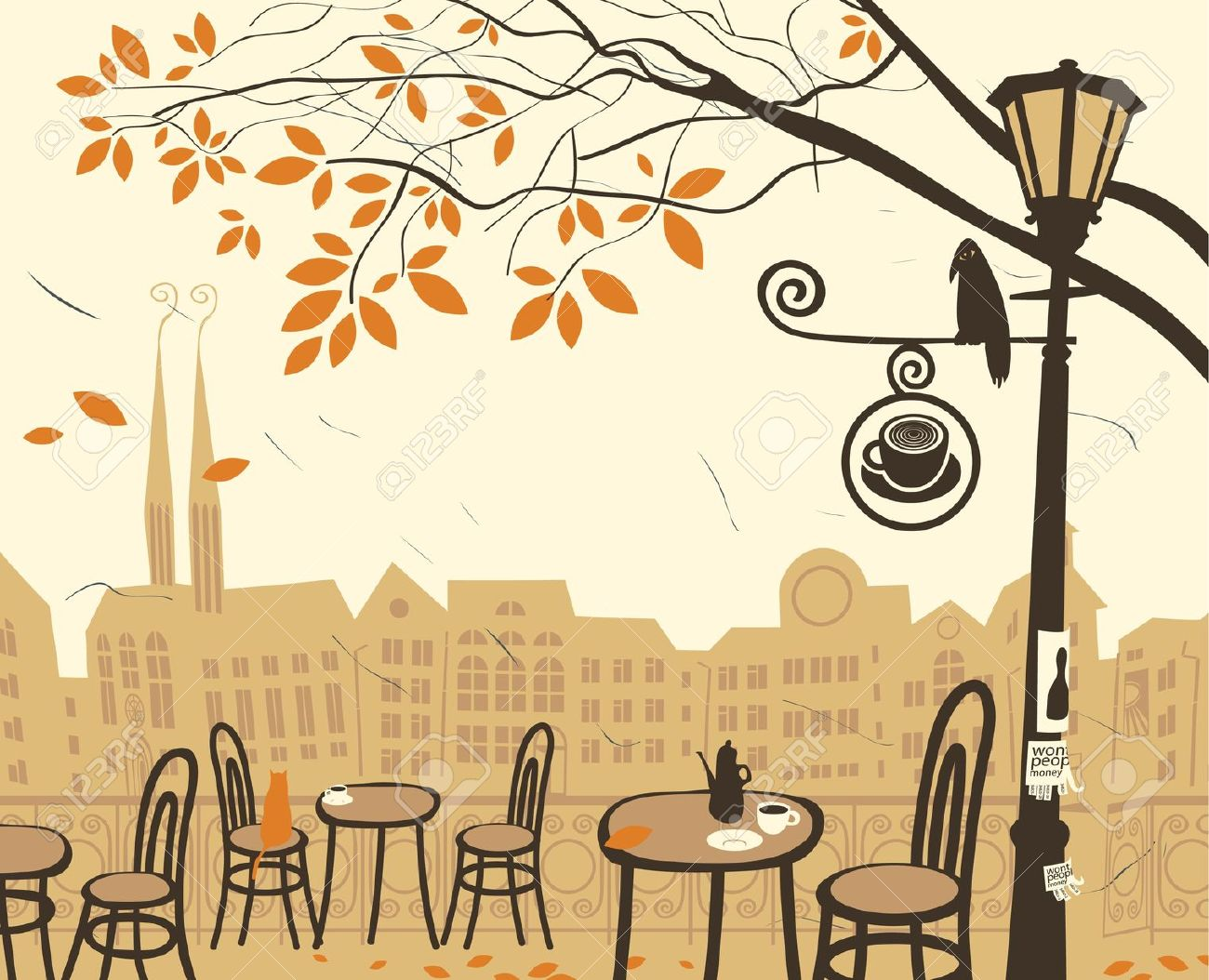 Autumn Landscape With A Street Cafe Royalty Free Cliparts, Vectors.