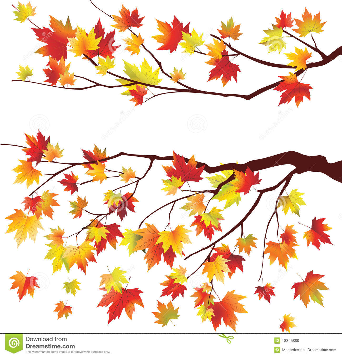 Autumn background with tree clipart.