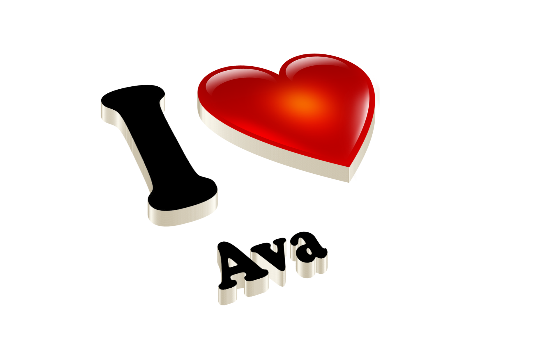 Ava Heart Name Transparent PNG.
