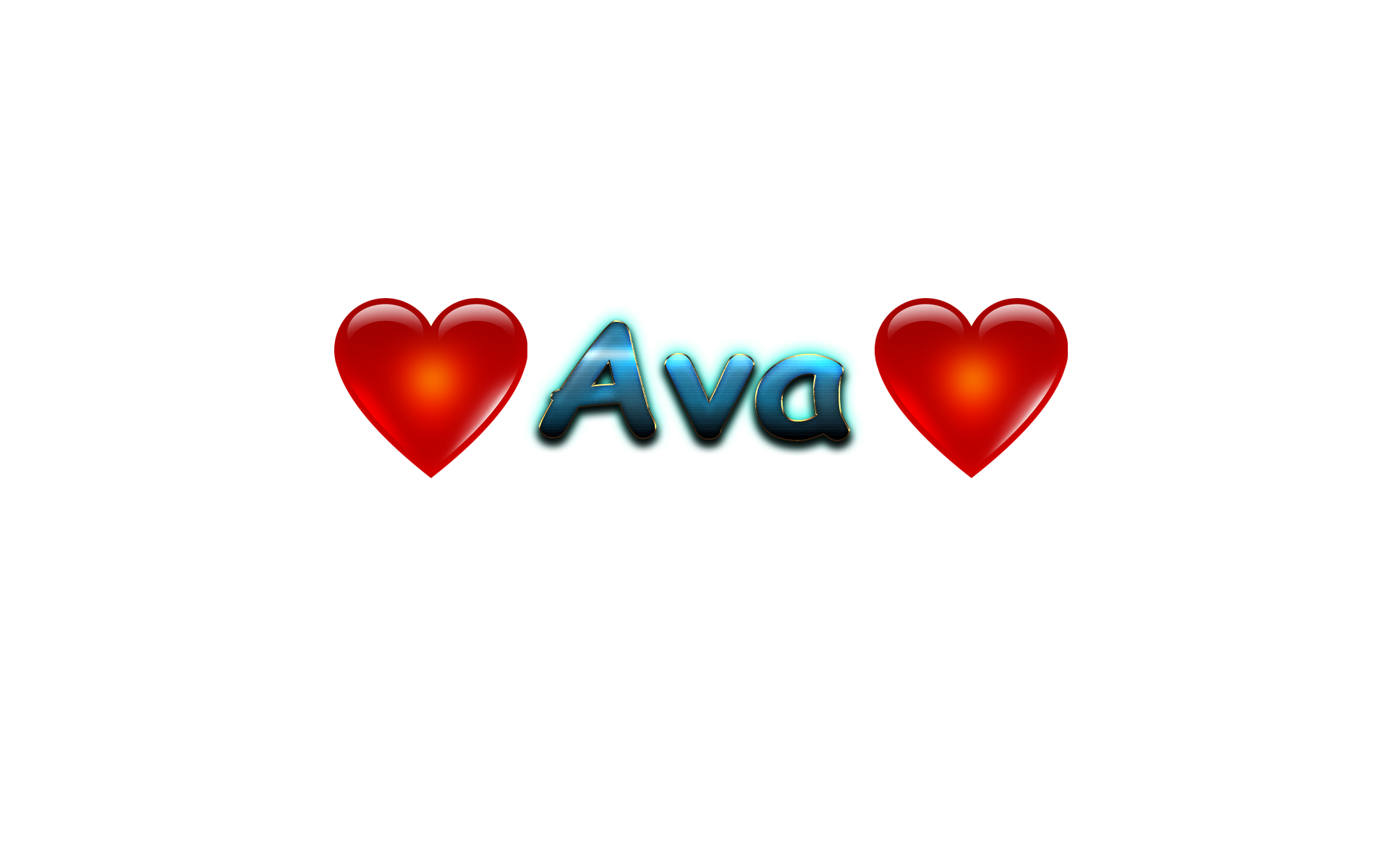 Ava Love Name Heart Design PNG.
