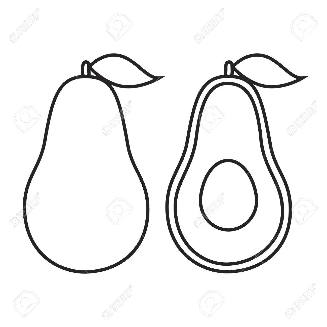 Avocado black and white clipart 3 » Clipart Station.