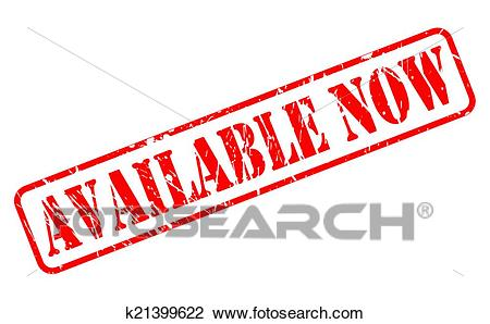Available now red stamp text Clipart.
