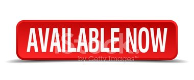 Available Now Red Three Dimensional Square Button Isolated.