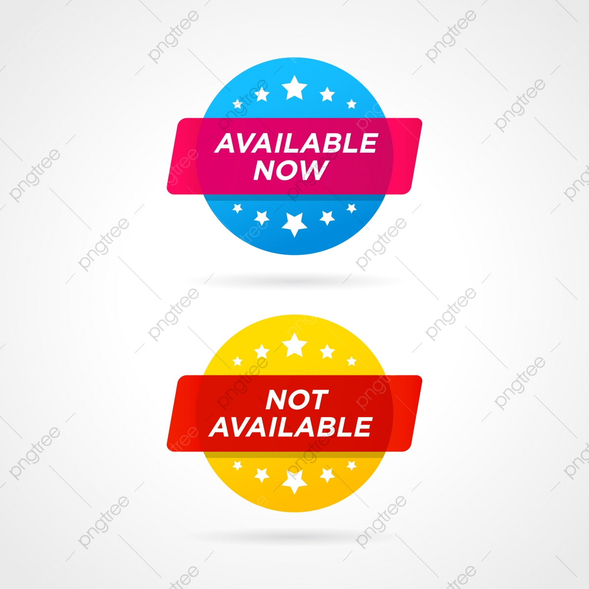 Available Now And Not Available Labels Vector Illustration In Flat.