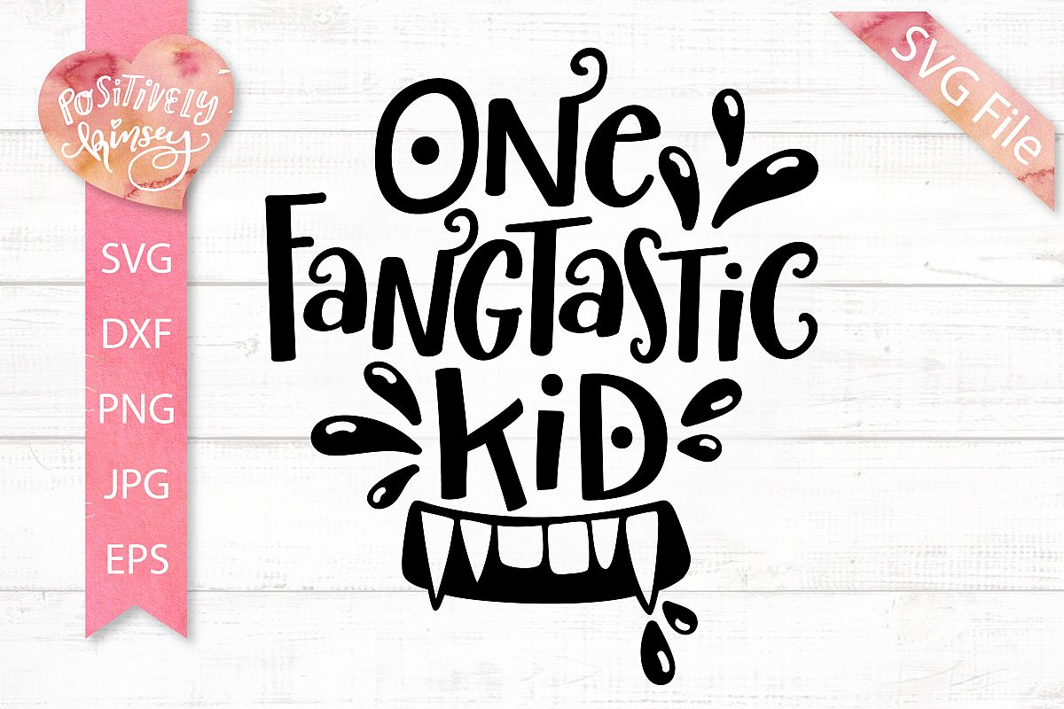 One Fangtastic Kid SVG DXF PNG EPS Kids Halloween SVG Design.