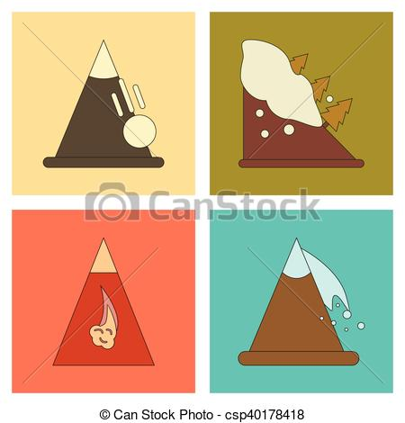 Vector Clip Art of assembly flat icons mountains snow avalanche.