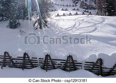 Pictures of avalanche barrier against avalanches.